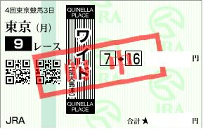 1013東京9R勝負のワイド1点馬券