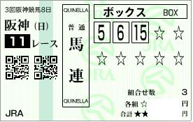 0628宝塚記念決め馬連ボックス馬券