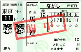 0621東京11R決め穴軸馬連流し
