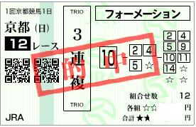 0105京都12r決め軸3連フォーメーション
