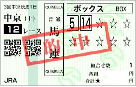 0702中京12R必買い馬連1点馬券