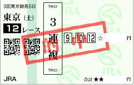 0620東京12R決め3連複加重投資
