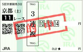1114京都11R3連複1点勝負的中馬券