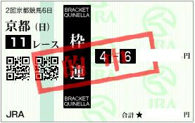 0212京都記念決め枠連馬券