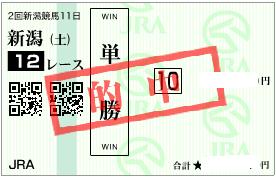 0902新潟12Rパドック◎単勝的中馬券