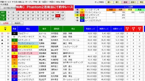 Phantom2活用0218京都11R画面