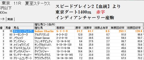 スピードブレイン2【血統】0627東京11R分析画面