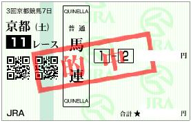 0513京都11R決め軸から馬連1点加重馬券