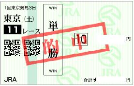 0204東京11R決め穴軸単勝的中馬券