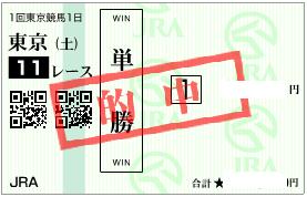 0128東京11R決め軸単勝的中馬券