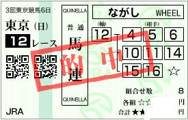 0622東京12r決め穴軸馬連流し