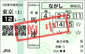 1116東京12r堅軸決め流し馬連