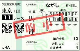 0628東京11Rパドック決め軸流し馬券