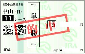 0108中山11Rパドック◎単勝馬券