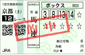 0121京都12Rパドック展開絞り馬連ボックス