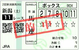 0827新潟11R平常心を保つ為の馬券