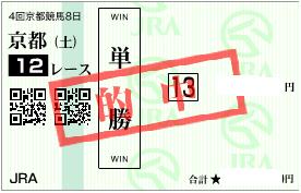 1029京都12R決め軸単勝的中馬券