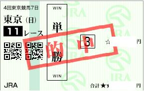 1026東京11R決め穴軸単勝的中馬券