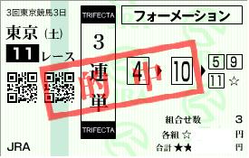 0614東京11Rパドック3連単