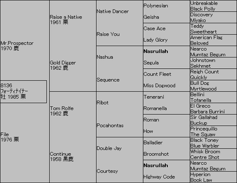 フォーティナイナー5代血統表