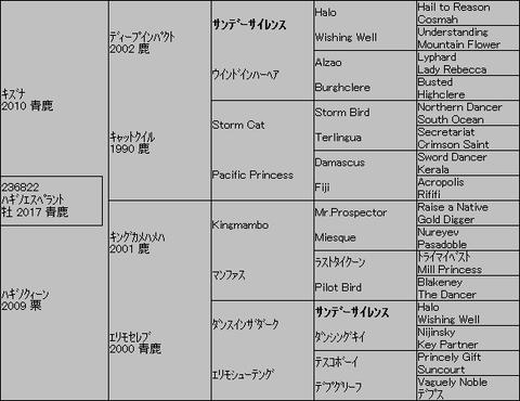 ハギノエスペラント5代血統表