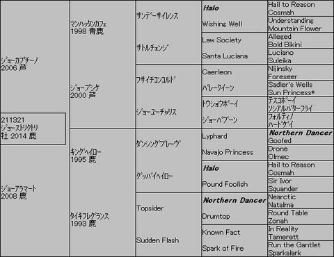 ジョーストリクトリ5代血統表