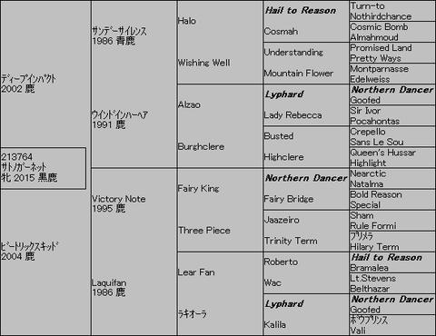 サトノガーネット5代血統表