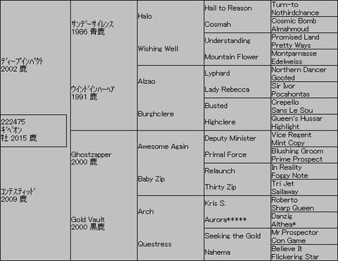 ギベオン5代血統表