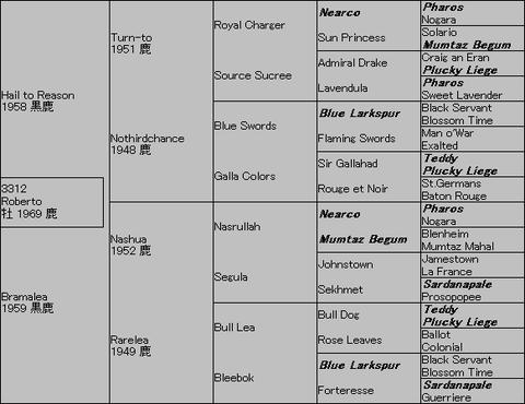 Roberto 5代血統表