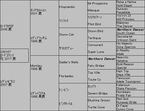 ロードユリシス5代血統表