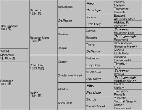 Monarque5代血統表