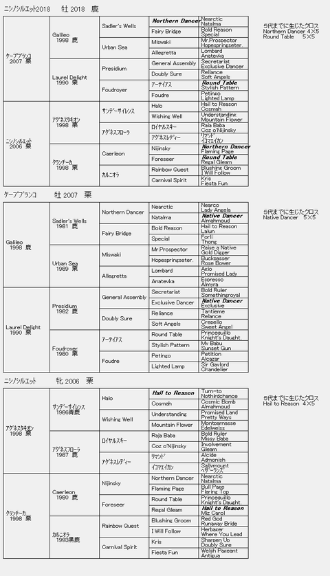 ニシノシルエット2018 6代血統表
