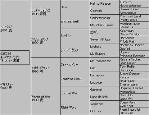 キングオブドラゴン5代血統表