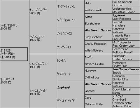 ミッキースワロー5代血統表