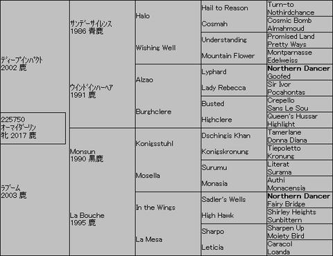 オーマイダーリン5代血統表