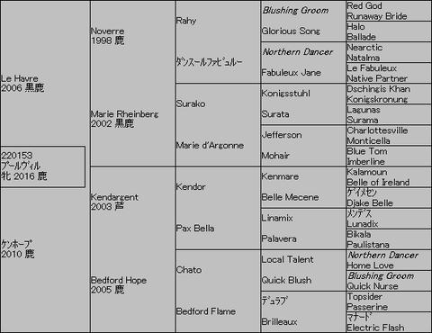 プールヴィル5代血統表
