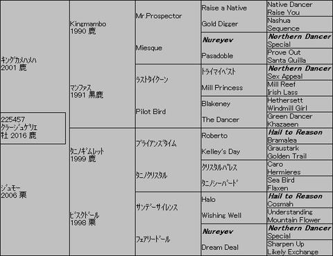 クラージュゲリエ5代血統表