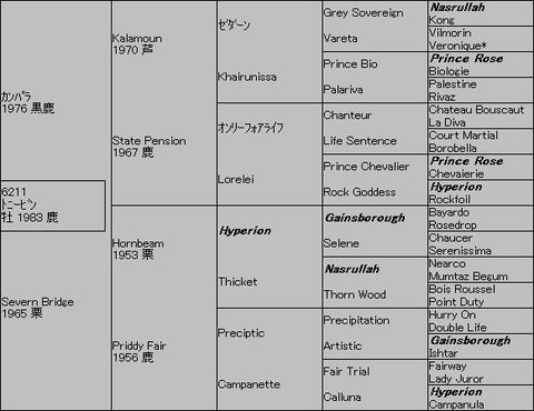 トニービン5代血統表