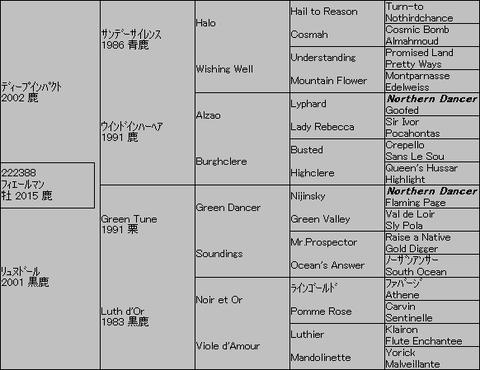 フィエールマン5代血統表
