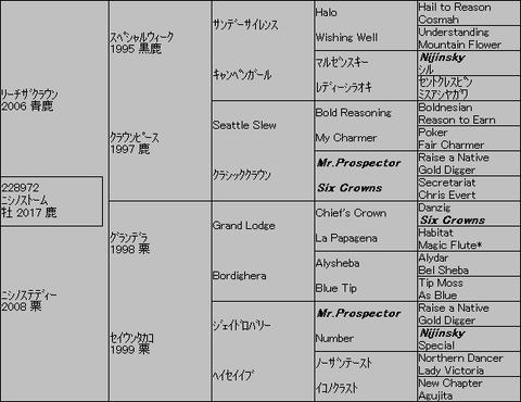 ニシノストーム5代血統表