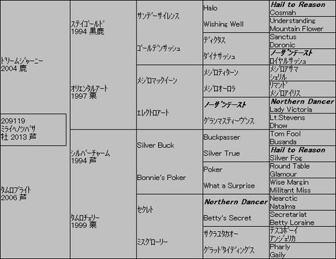 ミライヘノツバサ5代血統表