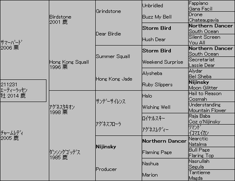 エーティーラッセン5代血統表