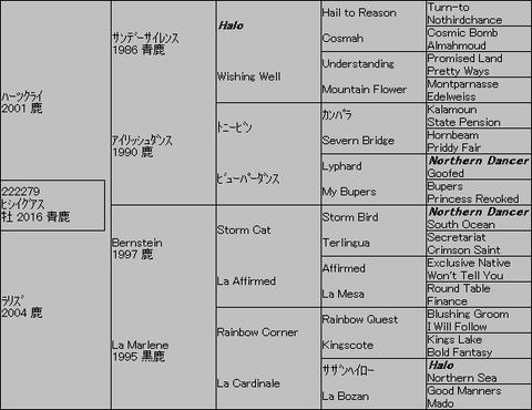 ヒシイグアス5代血統表