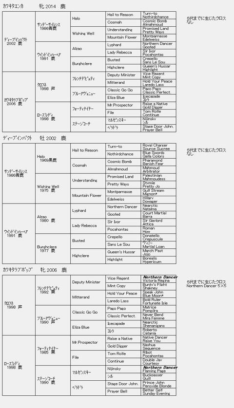 カワキタエンカ6代血統表