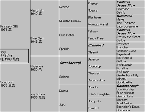 テスコボーイ5代血統表