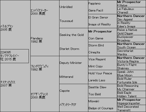 モジアナフレイバー5代血統表
