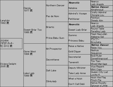 アポロケンタッキー5代血統表