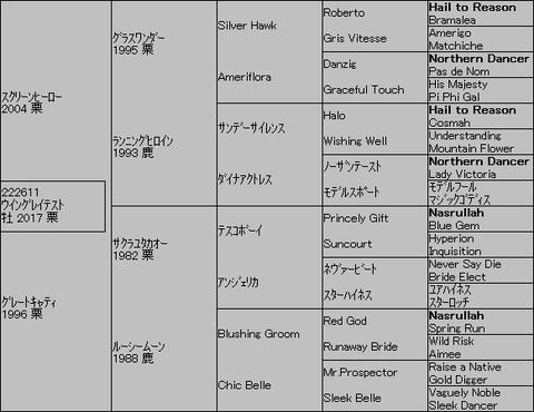 ウイングレイテスト5代血統表