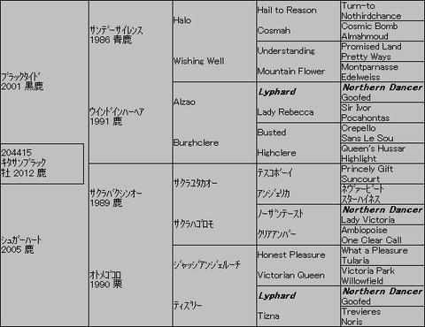 キタサンブラック5代血統表