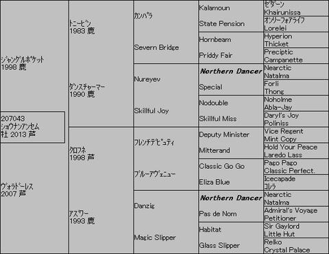 ショウナンアンセム5代血統表